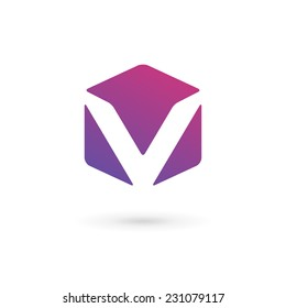 Letter V cube logo icon design template elements