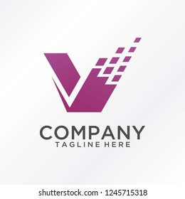 Letter V digital logo design