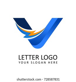 Letter v ELECTRICAL Alphabet Logo