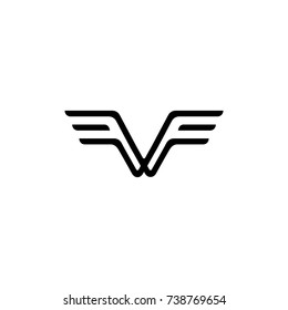 letter v f with wings symbol logo vector