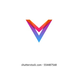 Letter V Gradient Line Logo Design Element