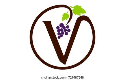 Letter V Grape Modern Logo