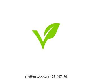 Letter V Green Leaf Logo Design Element