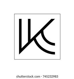 letter v k line art logo vector