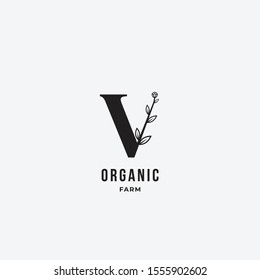 letter V leaf icon logo design concept, floral logo, icon, sign vector