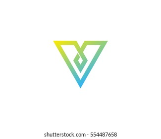 Letter V Line Arrow Logo Design Element