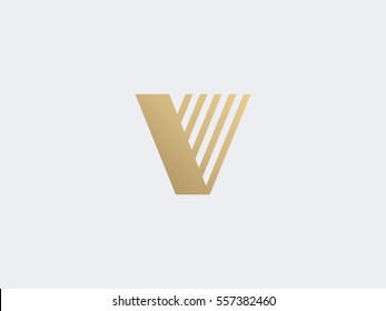 Letter V Logo concept. Creative Gold Line Monochrome Monogram emblem design template. Graphic Alphabet Symbol for Corporate Business Identity. Creative Vector element