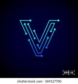 Letter V logo design template,Technology abstract dot connection cross vector logo icon circle logotype
