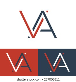 Letter V and A logo template. Monogram. Three color schemes