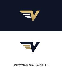 Letter V logo template. Wings design element vector illustration. Corporate branding identity