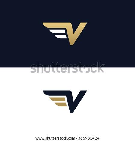 letter v logo template wings design のベクター画像素材