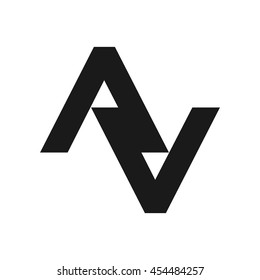 letter A and V logo vector.