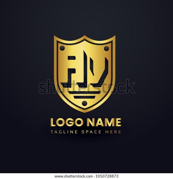 Letter A and Letter V Logo Vector with Gold Emblem Shield Design.