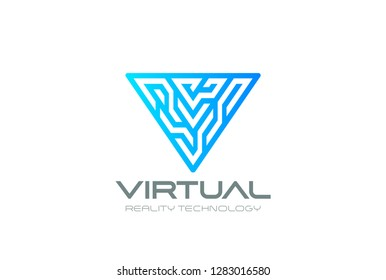 Letter V Logo Virtual Reality VR Triangle digital design for Blockchain Cryptocurrency Technology Vector template. Block chain style Logotype concept icon.