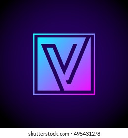 Letter V logo,Square shape symbol,Digital,Technology,Media