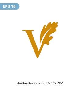 Letter V Oak Logo Designs , Simple and elegant
