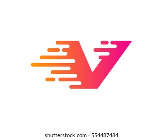 Letter V Speed Logo Design Element