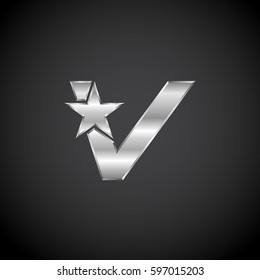 Letter V Star with metallic texture,3d Glossy, metal texture, Silver, steel logotype