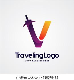 Letter V Travel Logo Template Design Vector, Emblem, Design Concept, Creative Symbol, Icon