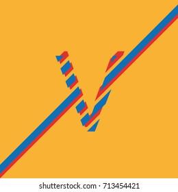 letter V uppercase vector from lines