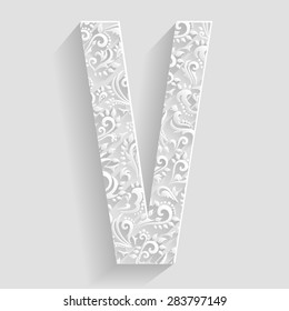 Letter V. Vector Floral Invitation cards Decorative Font
