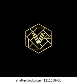 letter V VV minimalist art monogram hexogen shape logo, white color on black background