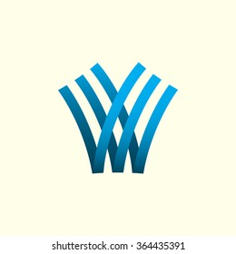 Letter V, Letter W. Abstract Vector Logo Design Template. Creative Blue Concept Icon