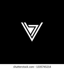 letter VB BV minimalist art monogram triangle shape logo, white color on black background.