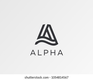 Letter A vector line logo design. Creative minimalism logotype icon symbol.