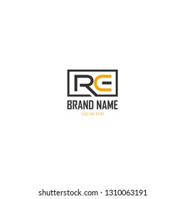 Letter RE Vector Logo Design
