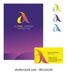 A letter - vector logo design concept illustration. Alpha logo sign for business company. Corporate identity - visit card, poster, folder, brochure cover.