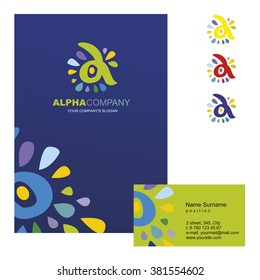 A letter - vector logo design concept illustration. Alpha abstract t letter logo sign for business company. Corporate identity - visit card, poster, folder, brochure cover.