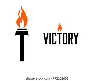 Letter Victory with Olympic Torch Fire on the Letter T Symbol Logo Vector