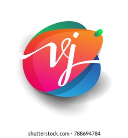 Letter VJ logo with colorful splash background, letter combination logo design for creative industry, web, business and company.