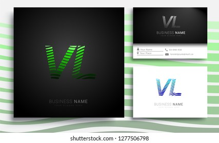 Letter VL logotype with colorful circle, with striped composition letter, sets of business card for company identity, creative industry, web.