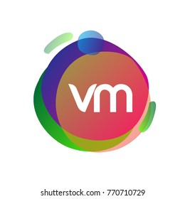 Letter VM logo with colorful splash background, letter combination logo design for creative industry, web, business and company.