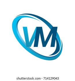 letter VM logotype design for company name colored blue swoosh. vector logo for business and company identity.