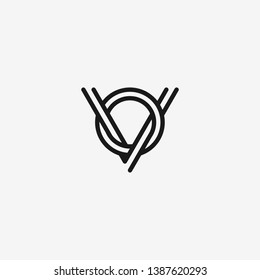 letter VO OV line art 2 lines logo template sticker