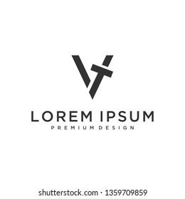 letter VT logo design template with business card. Vector