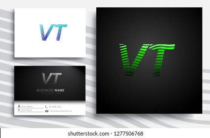 Letter VT logotype with colorful circle, with striped composition letter, sets of business card for company identity, creative industry, web.