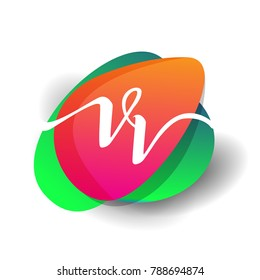 Letter VV logo with colorful splash background, letter combination logo design for creative industry, web, business and company.
