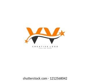 Letter VV Stars Swoosh Logo