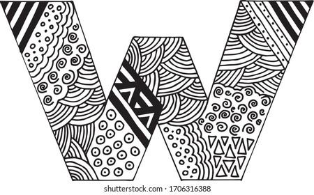 Letter W alphabet symbol - hand drawn, paint, vector illustration