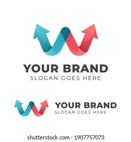 letter w with arrow Logo design for your brand or business start up symbol