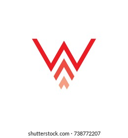 letter w with arrow up logo vector