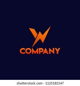 Letter W Big Watt High Voltage Logo Concept
