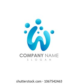 Letter W With Bubble, Initial Letter Logo For Your Company Name, Alphabet Logo Template Ready For Use, Modern Initial Logo