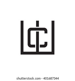 letter W and C monogram square shape logo black