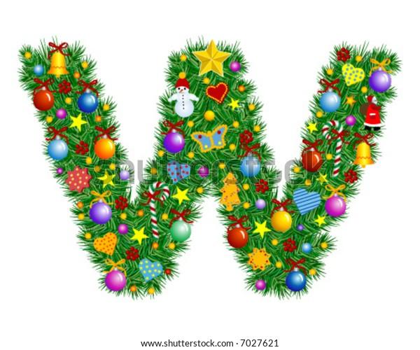 Letter W - Christmas decoration - part of a full set Alphabet