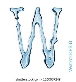 Letter W from clear transparent bluish water droplets. Vector EPS 8.
